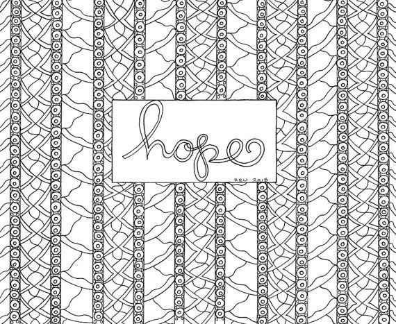 Adult Coloring Page Hope Quote Digital Download Faith Hope Love