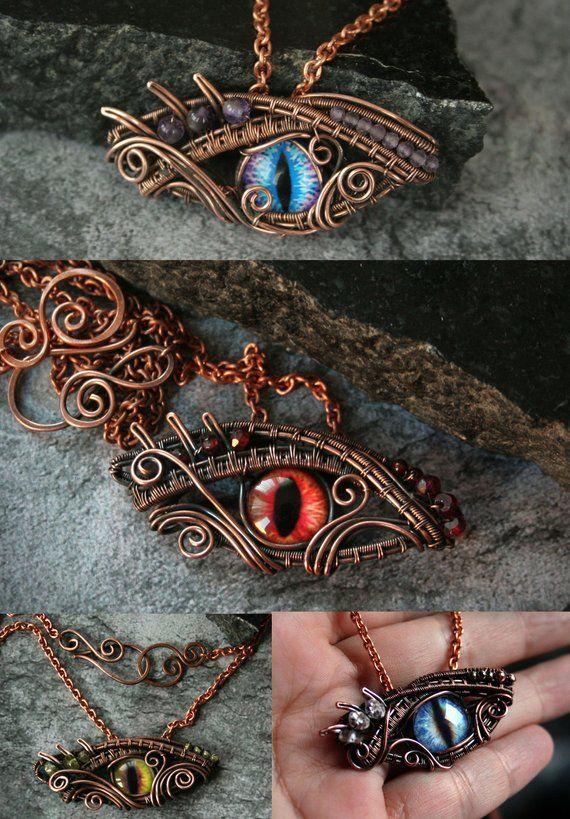 Dragon's Eye Pendant Fantasy Dragon Eye Copper Wire