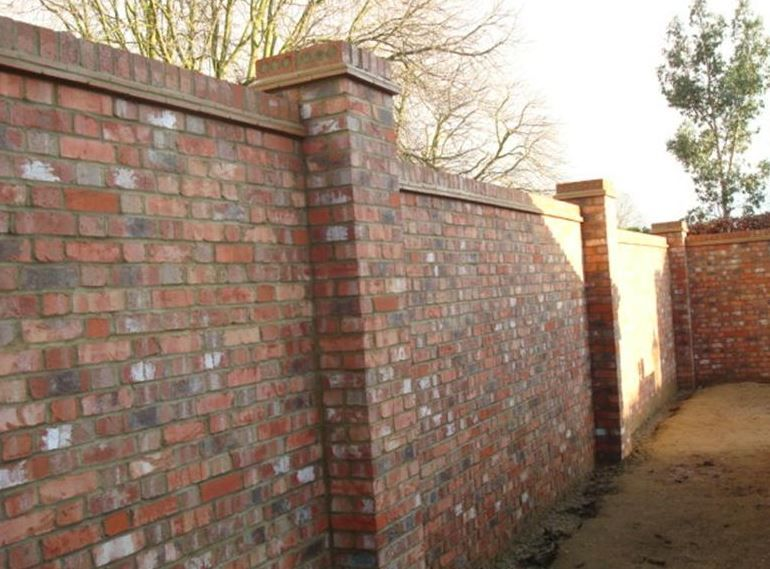 walled garden brick wall with two brick piers and on on brick wall id=49309
