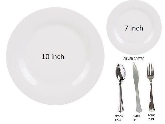 Bulk Plain White wedding Dinner party disposable plastic plates silverware | Plastic plates and Elegant  sc 1 st  Pinterest & Bulk Plain White wedding Dinner party disposable plastic plates ...
