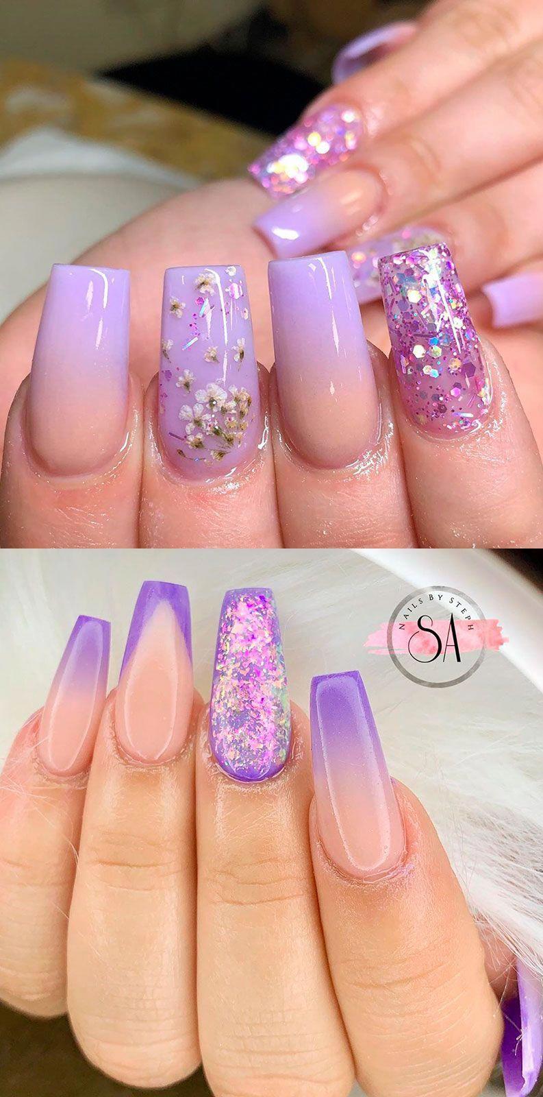 Purple Ombre Nails Ideas For Summer 2019 Ombrenails In 2020 Purple Acrylic Nails Purple Ombre Nails Light Purple Nails