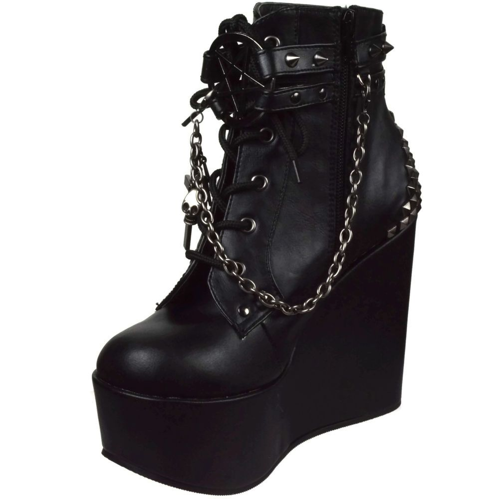 607ce939890e DEMONIA Gothic Wedge Platform Ankle Boot Studs Chains Charms POISON-101  Black  Demonia  Boots  Gothic
