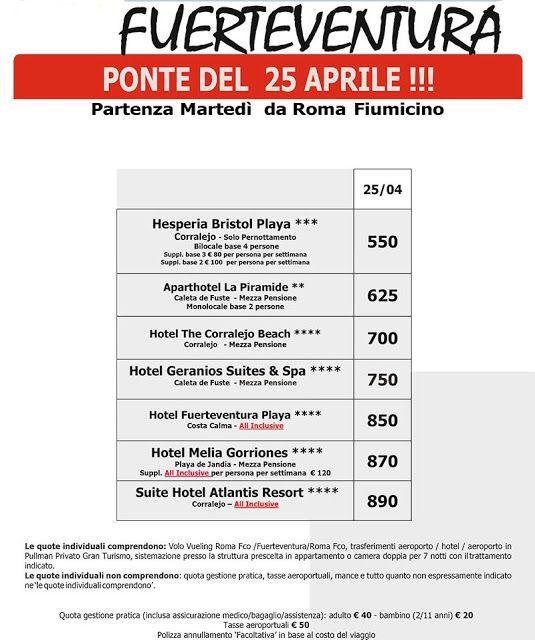 JLAND TRAVEL: SPECIALE #FUERTEVENTURA PONTE DEL #25APRILE DA ROM...