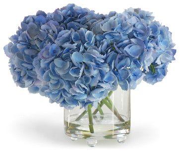 Hydrangea In Vase Blue Flower Arrangement Traditional Artificial Flowers Blue Flower Vase Blue Flower Arrangements Artificial Flowers