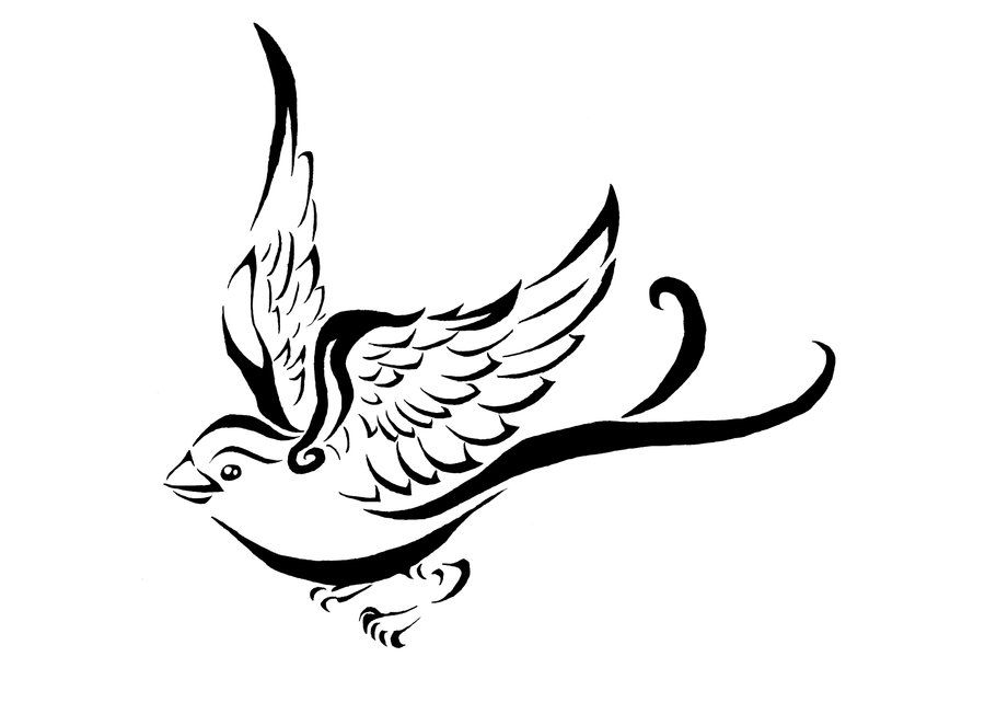 Flight Of The Sparrow By Elemental War On Deviantart Tattoo Design Drawings Line Drawing Tattoos Flying Bird Drawing