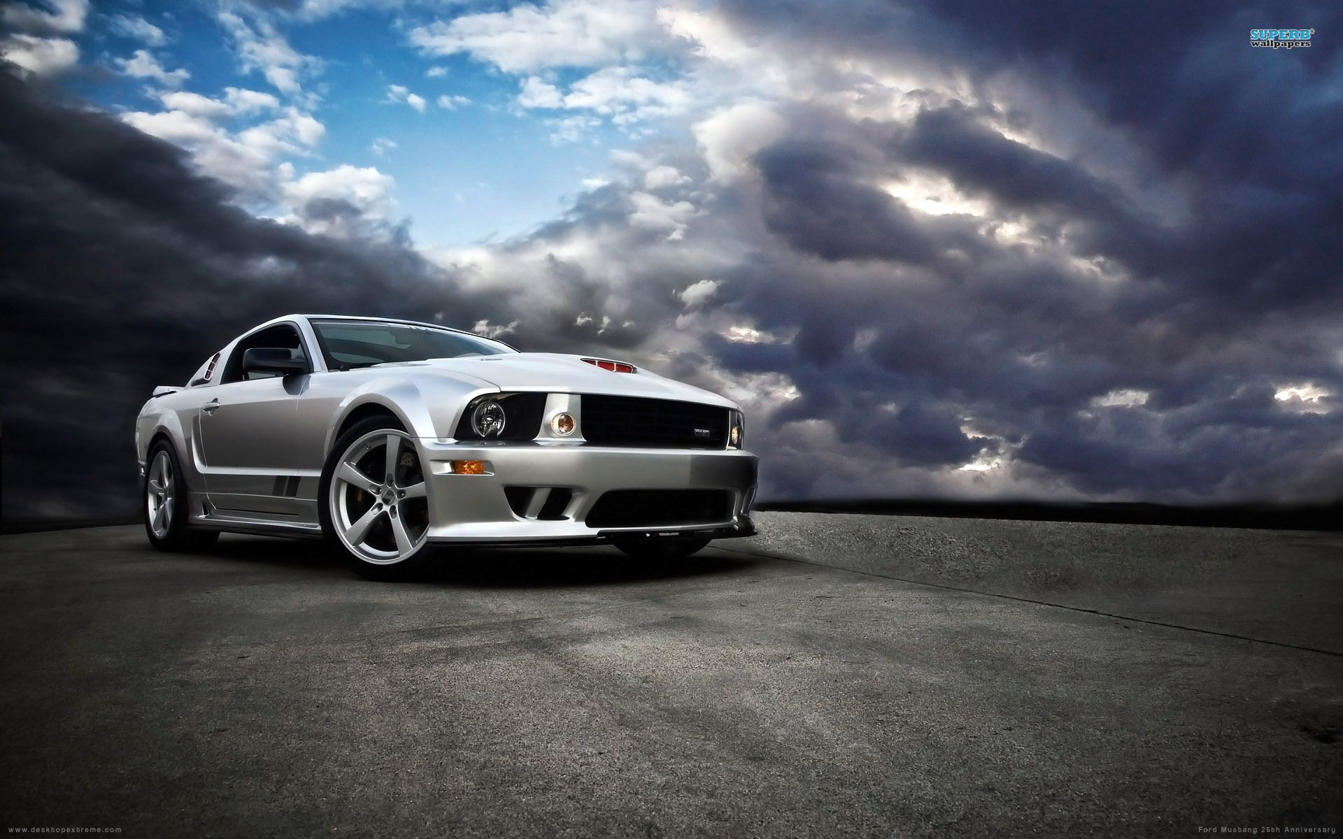 Silver Ford Mustang Sky Screen Background Super Car Racing Mustang Ford Mustang Logo