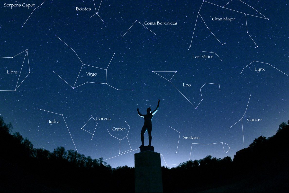 Crystal Clear Constellations In The Night Sky Over The Statue Of Apollo At Allerton State Park In Leo Constellation Tattoo Constellations Constellation Tattoos [ 794 x 1188 Pixel ]