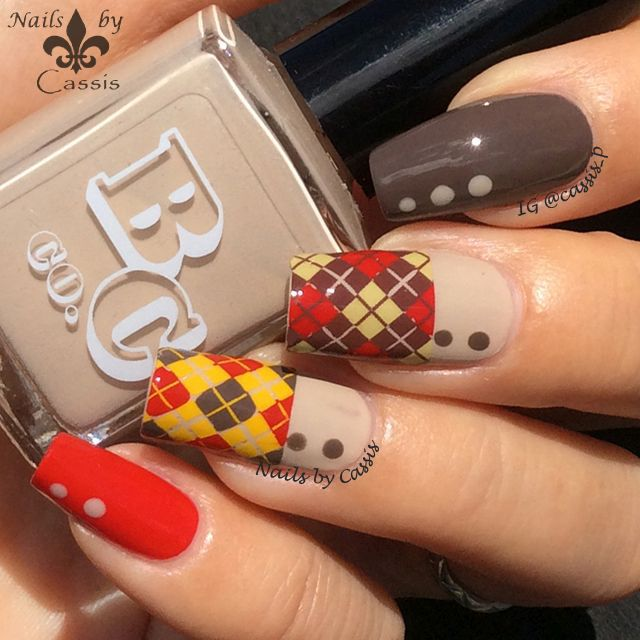 Nails by Cassis: Autumn Argyle Mani Using Hehe Plate #nails #nailstamping #nailart #hehe #autumn