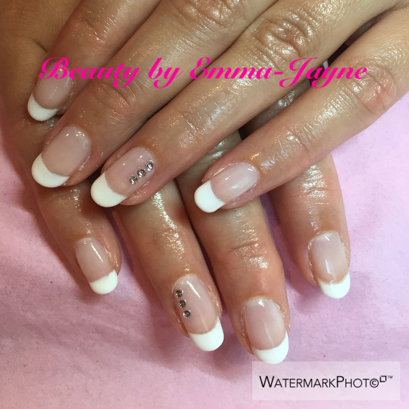 Gel overlays using Gelish. Beautiful French manicure with gems for a ...
