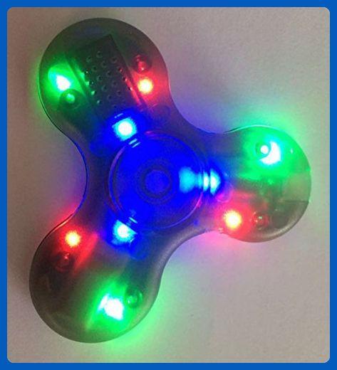 Gray/Black CRYSTAL clear transparent Bluetooth Connectivity Speaker LED LIGHT-UP Hard Plastic TRI FIDGET SPINNER EDC hand desk toy stress reducer for focus ADHD ADD - Fidget spinner (*Amazon Partner-Link)