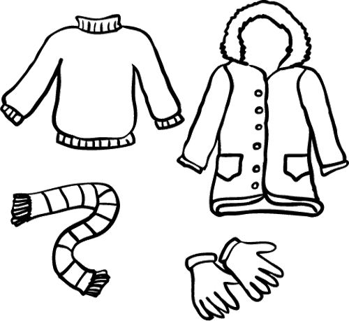 Winter Clothes And Other Tools Coloring Pages For Kids
