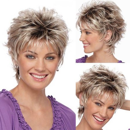 Follure Fashion Wig Short Haircut Curly Color Gradient Wigs Short Synthetic - Walmart.com