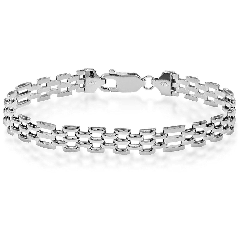 Citerna 5 Row Rectangle Gate and Brick Link Panther Sterling Silver Bracelet of Length 19.5 cm pFSr0
