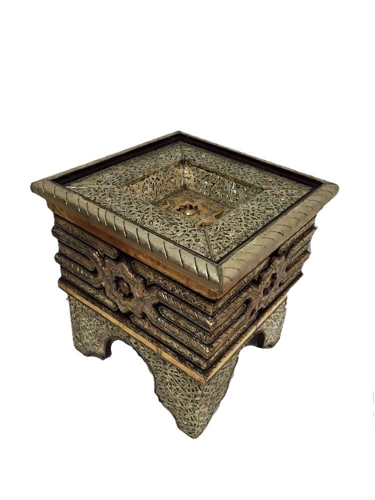 Moroccan Accent Table In Carved Embossed Silver Metal Wood Glass Top  Furniture