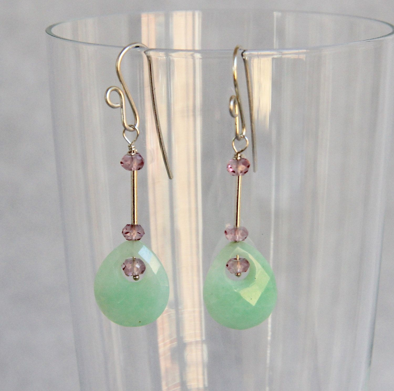Faceted Moss Agate Marquise beads Bali Sterling Silver dangle Earrings
