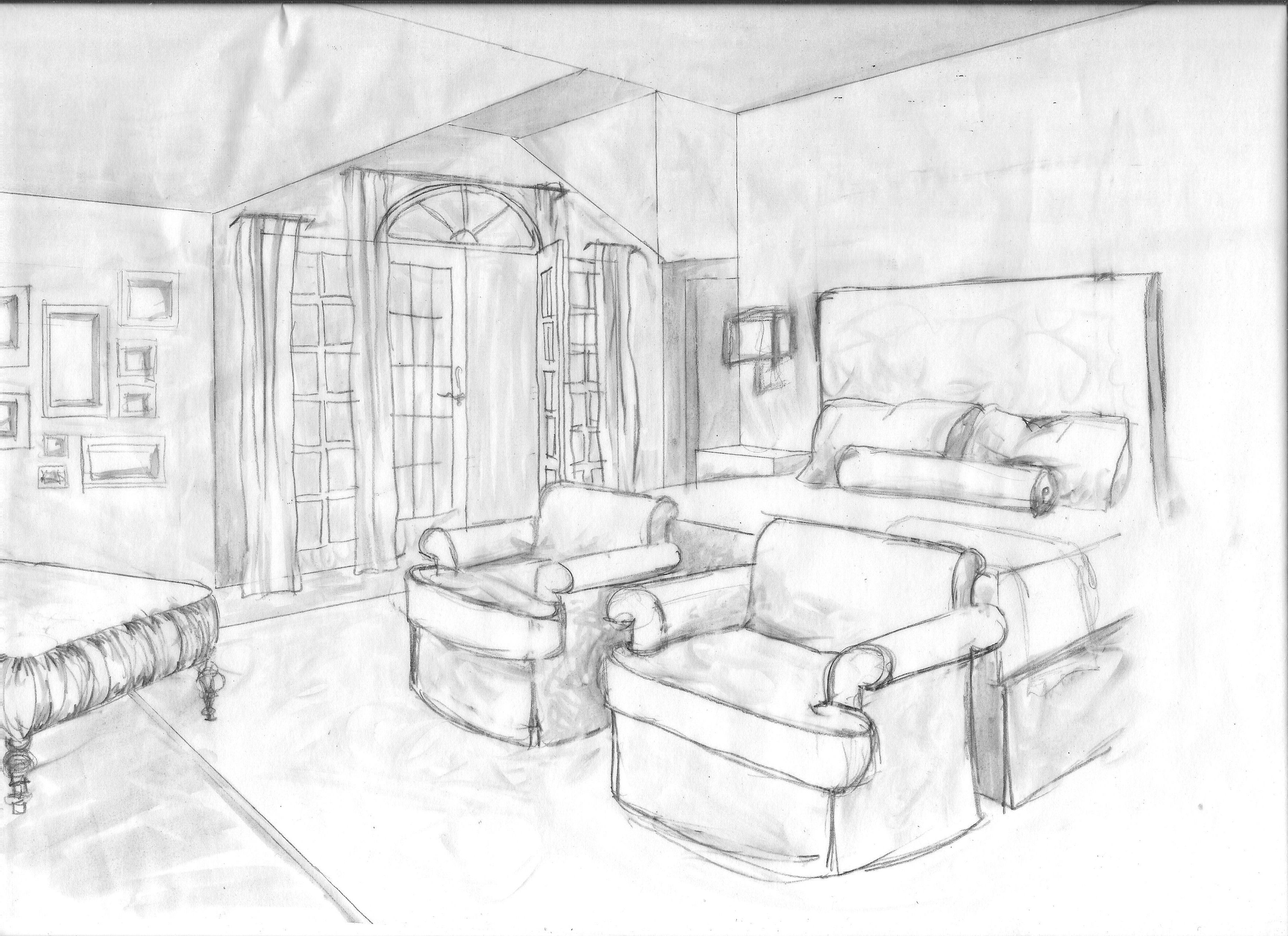 Hand drawn grayscale rendering for master bedroom (With