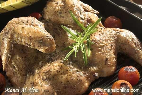 دجاج مشوي مع اعشاب Manalalalem Recipes Recipes Food Chicken