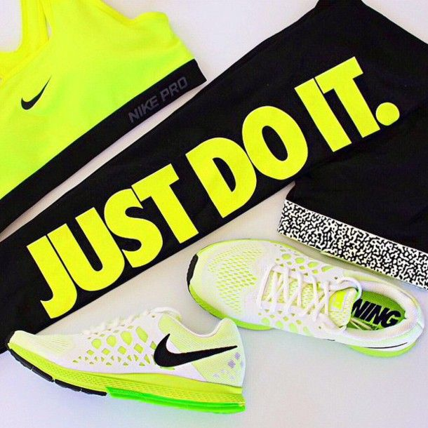 neon yellow sportswear fit leggings just do it nike air