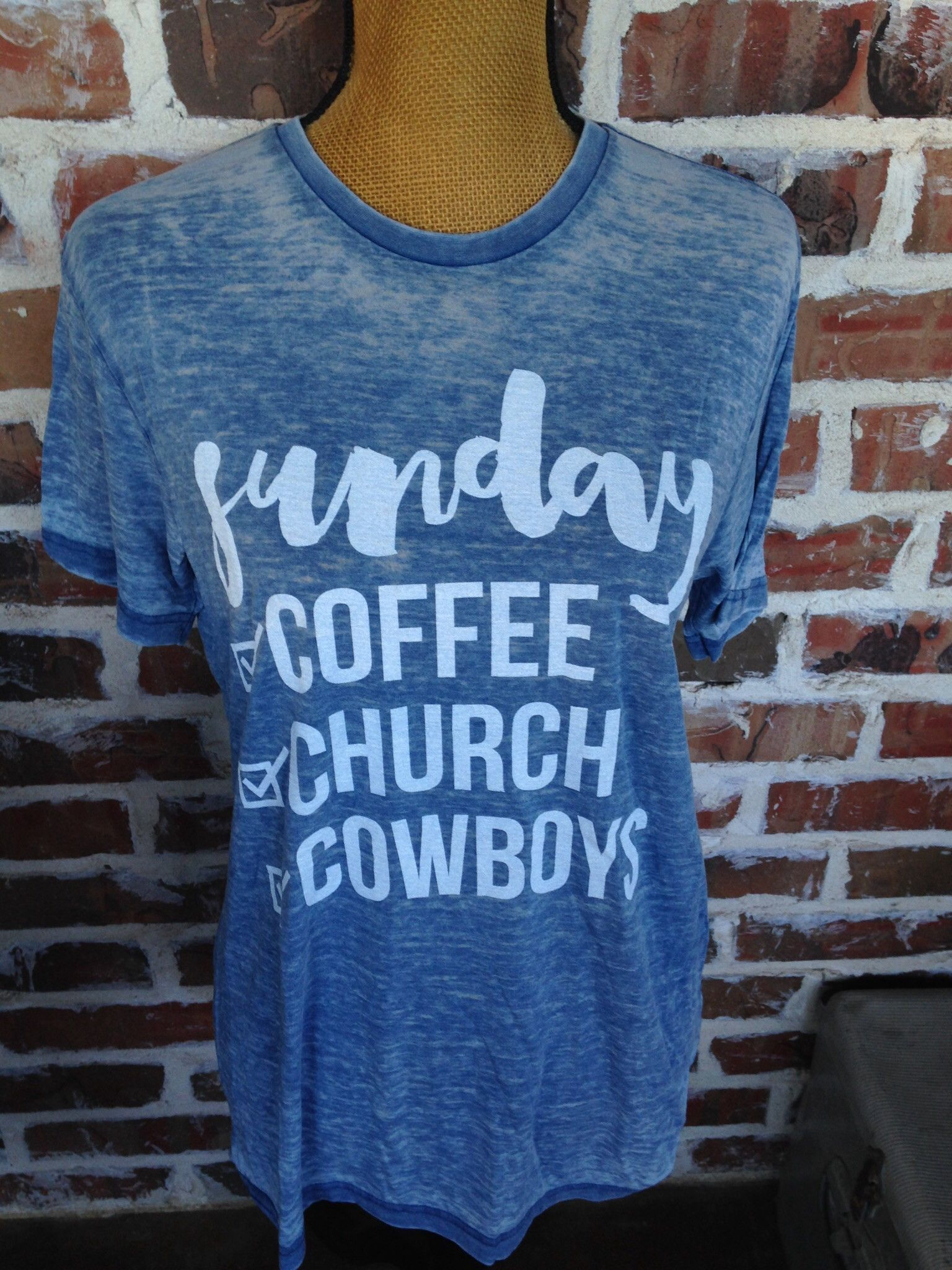 Sunday Check List T-Shirt #churchoutfitfall This super cute acid washed tee is for all our Cowboy fans! A perfect Tee for Gameday. A gorgeous shade of blue with your Sunday check list - coffee, church, Cowboys. This shirt fits exactly true to s #churchoutfitfall