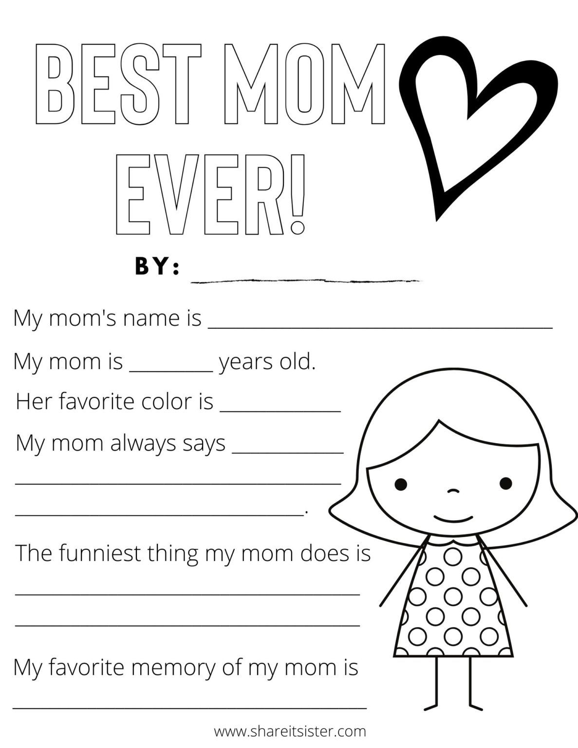 Mother S Day Printables For Kids Share It Sister Free Mother S Day Printables Mom Coloring Pages Funny Mother