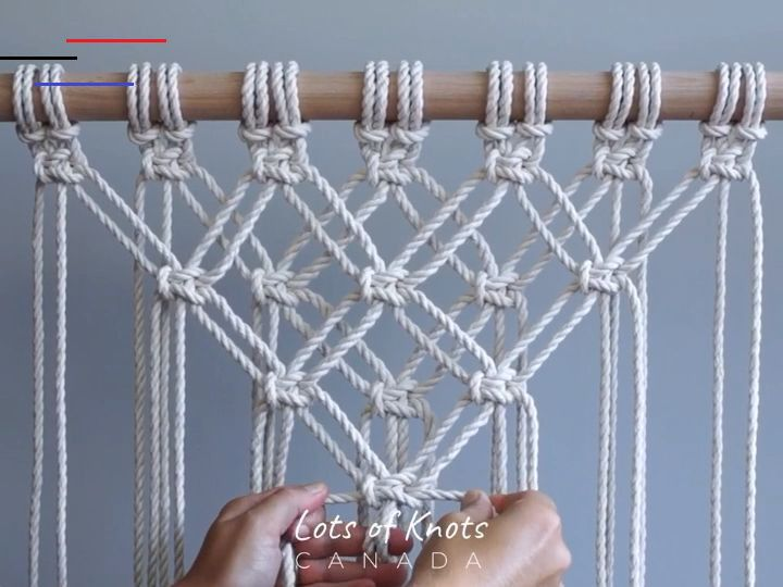 DIY Macrame Tutorial - Starting Your Work! Overlapping Square Knot Pattern - YouTube - #macramewallhanging