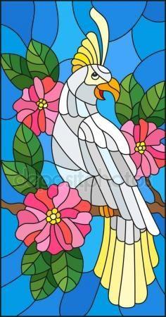 Vitray Ile Dal Cicek Acmasi Agac Yapraklari Ve Gokyuzu Arka Plan Uzerinde Oturan Bir Guzel Papagan Tarzi Cizimi Stok Vektor Mozaic Sanati Cizimler Tablolar