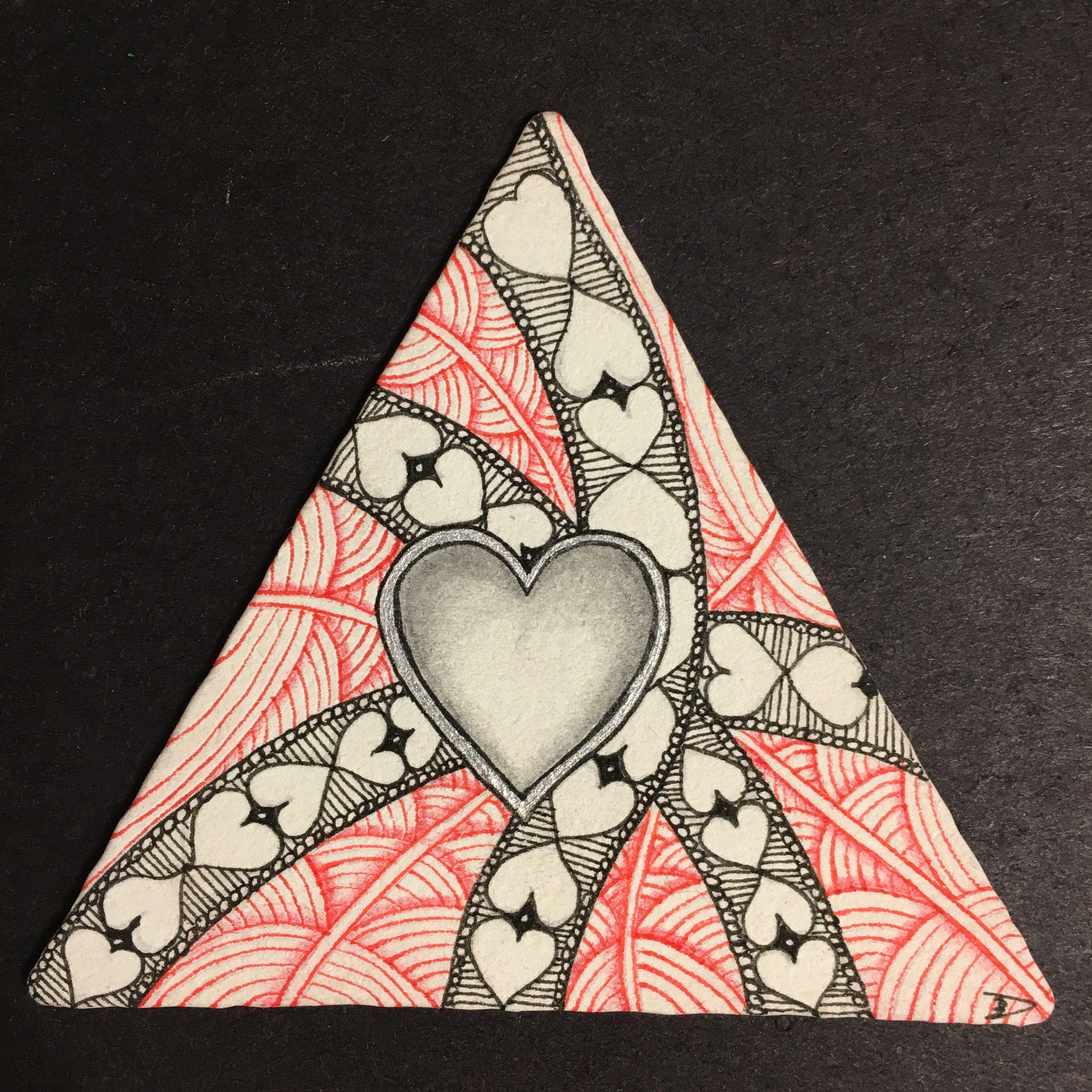 Zentangle 3-Z triangle black & red, silver, heart, shattuck