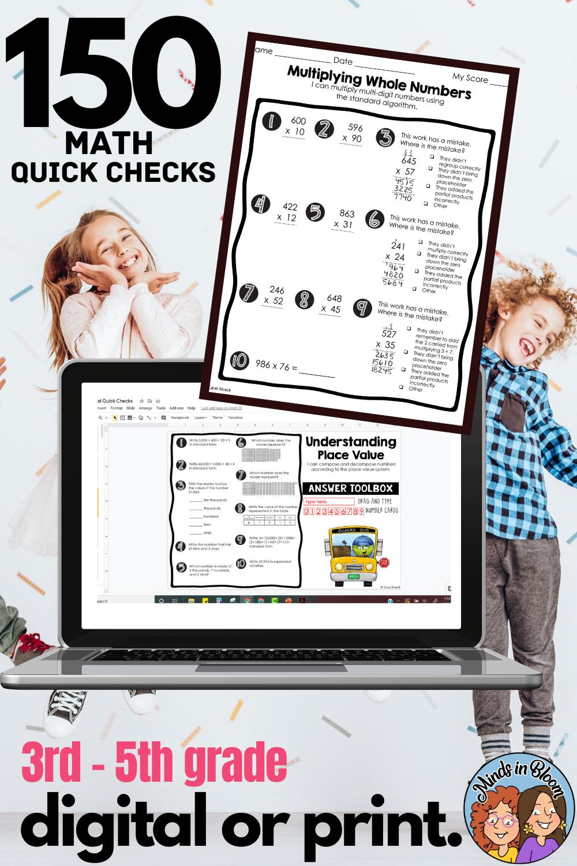 3rd 5th Grade Math Quick Checks Digital Learning Classroom Kids Learning Activities Homeschool Activities [ 1500 x 1000 Pixel ]