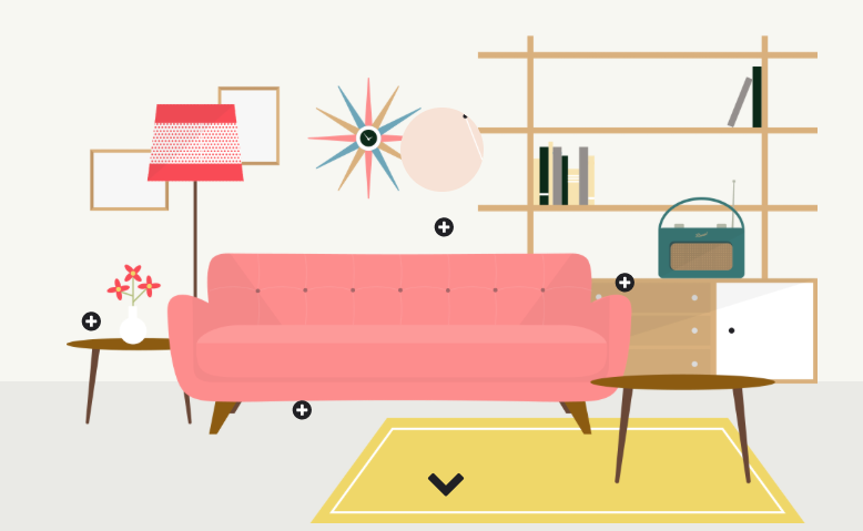 Illustrations Portraying British Interior Design Trends by Decade (1950s to 2010s) - CAT IN WATER