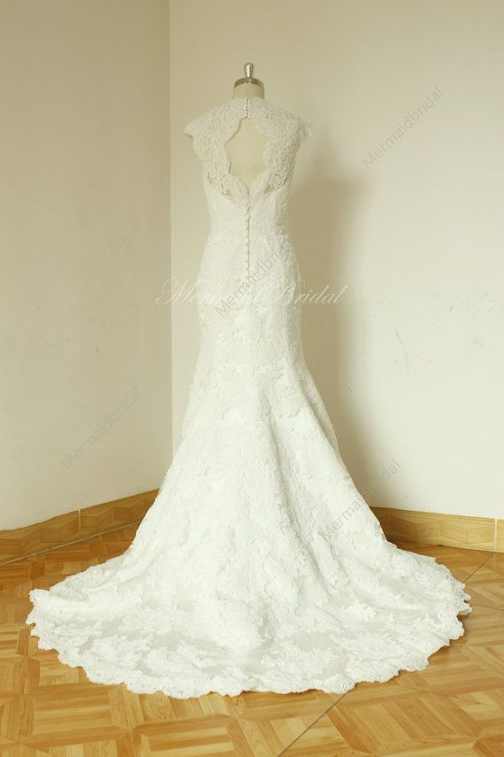 Fit and flare sleeves Vintage lace Wedding dress with Keyhole back ...