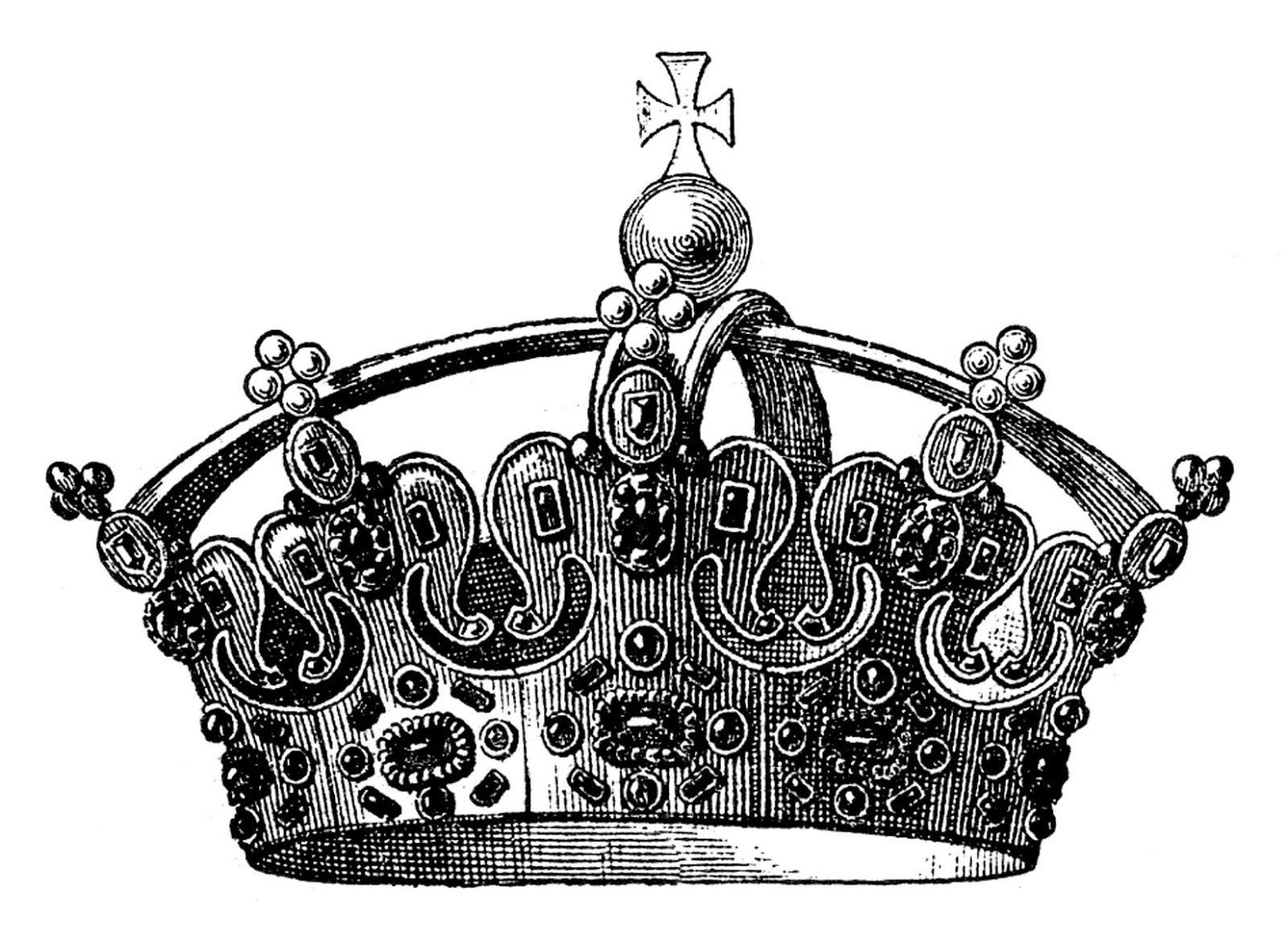 Vintage Clip Art - Jeweled Crown | Graphics fairy, Vintage clip art ...