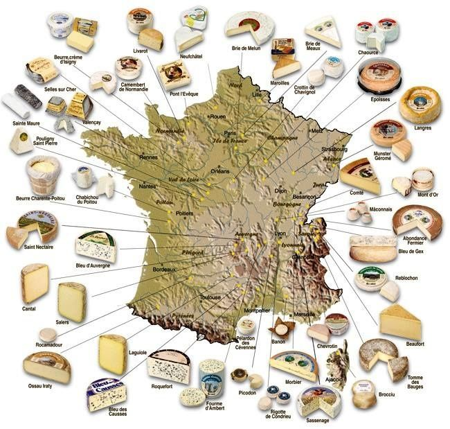 photo carte de france La carte de France des Fromages (avec images) | Fromages de france