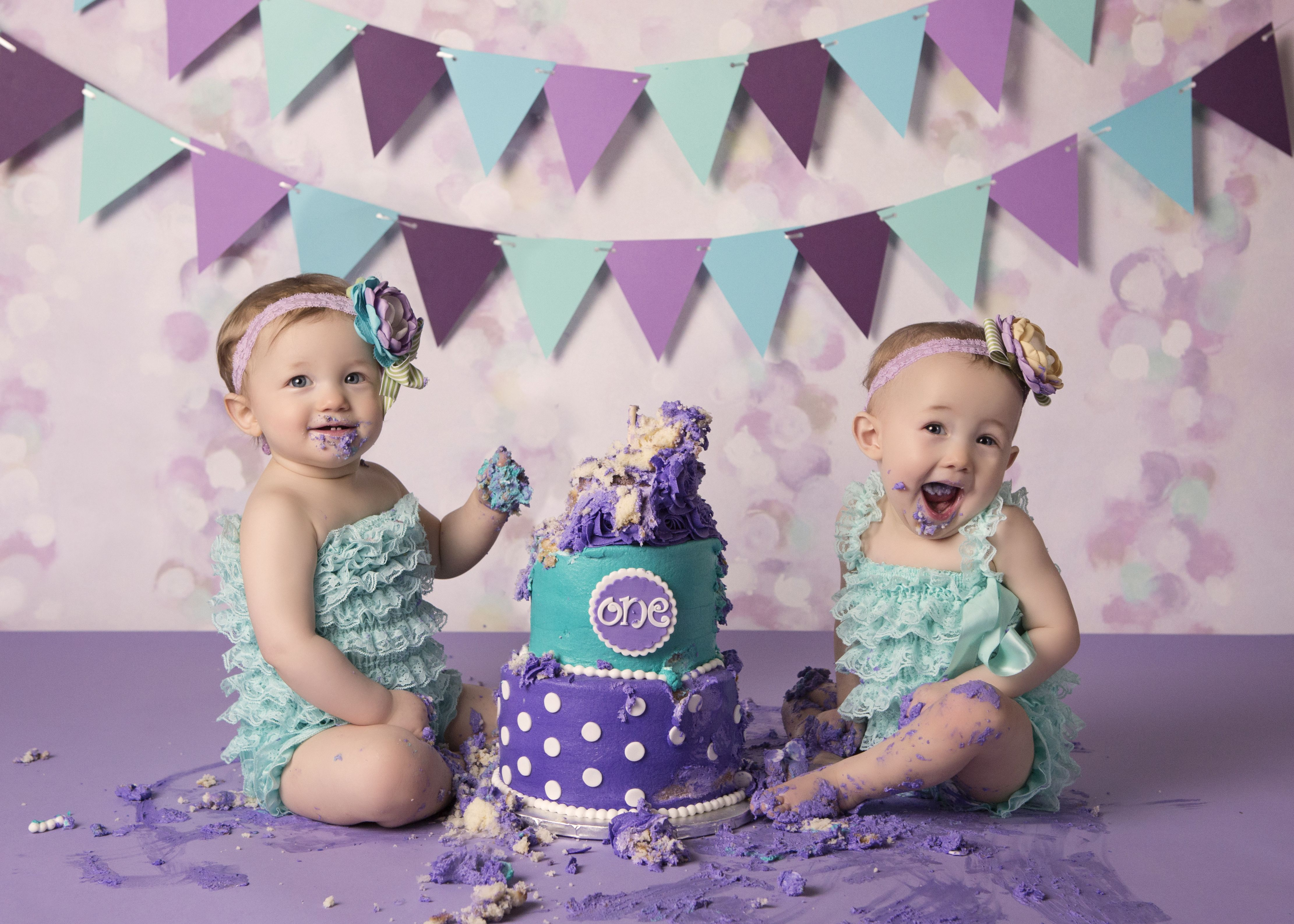Twin One Year Old Girl Cake Smash Photography Smash Cake Girl