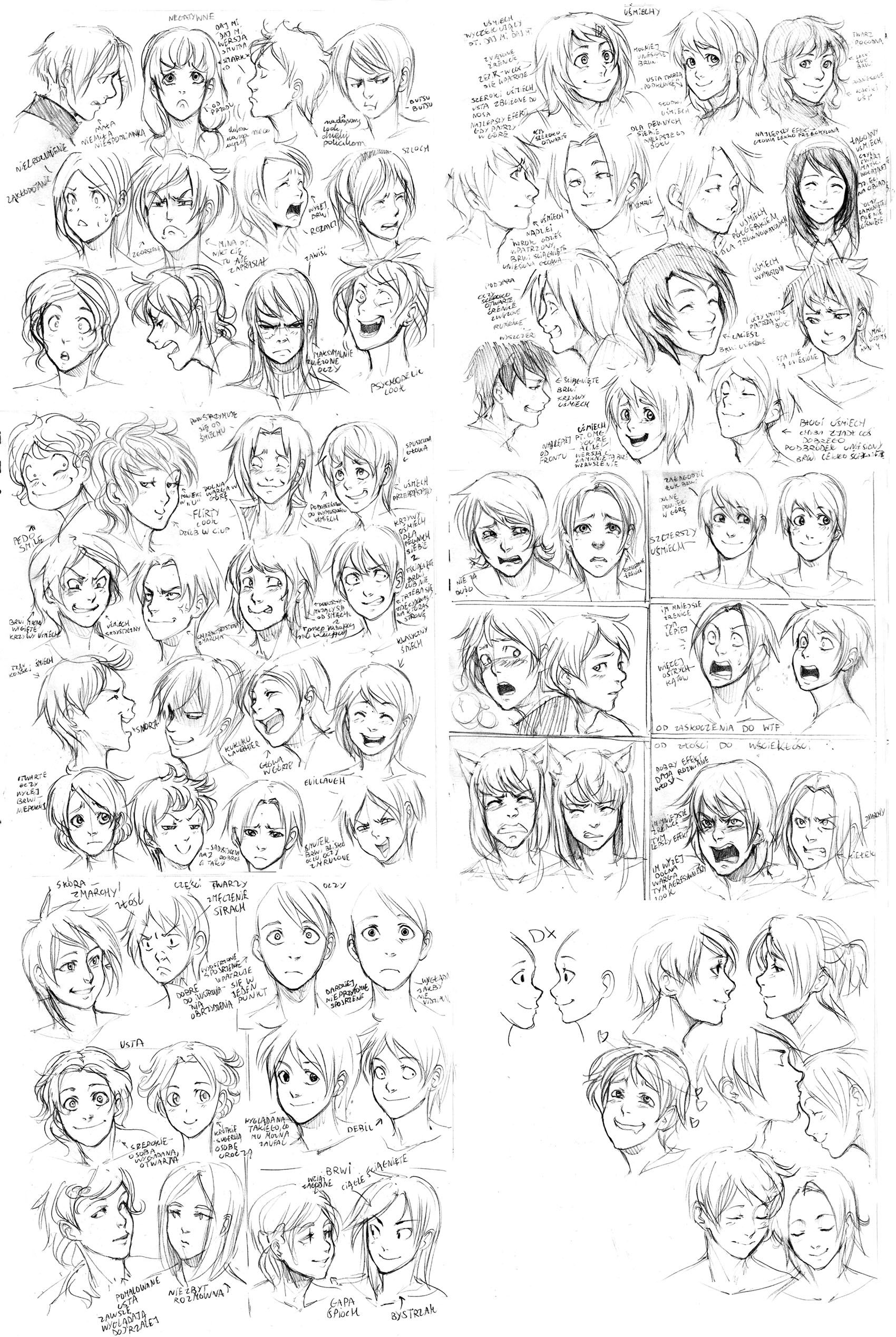 74 expressions male and female heads different hairstyles