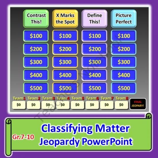 Classifying Matter - Jeopardy PowerPoint Review Game from Tangstar - sample jeopardy powerpoint