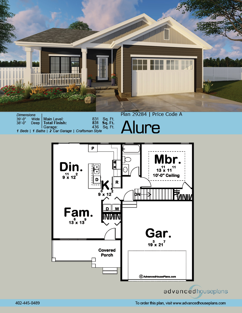 1 Story Craftsman House Plan Alure Craftsman House Craftsman House Plans House Plans