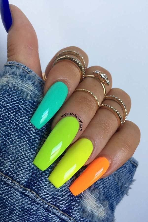 Colorful Nail Art Designs That Scream Summer Multicoloured Nails Neon Acrylic Nails Coffin Nails Designs