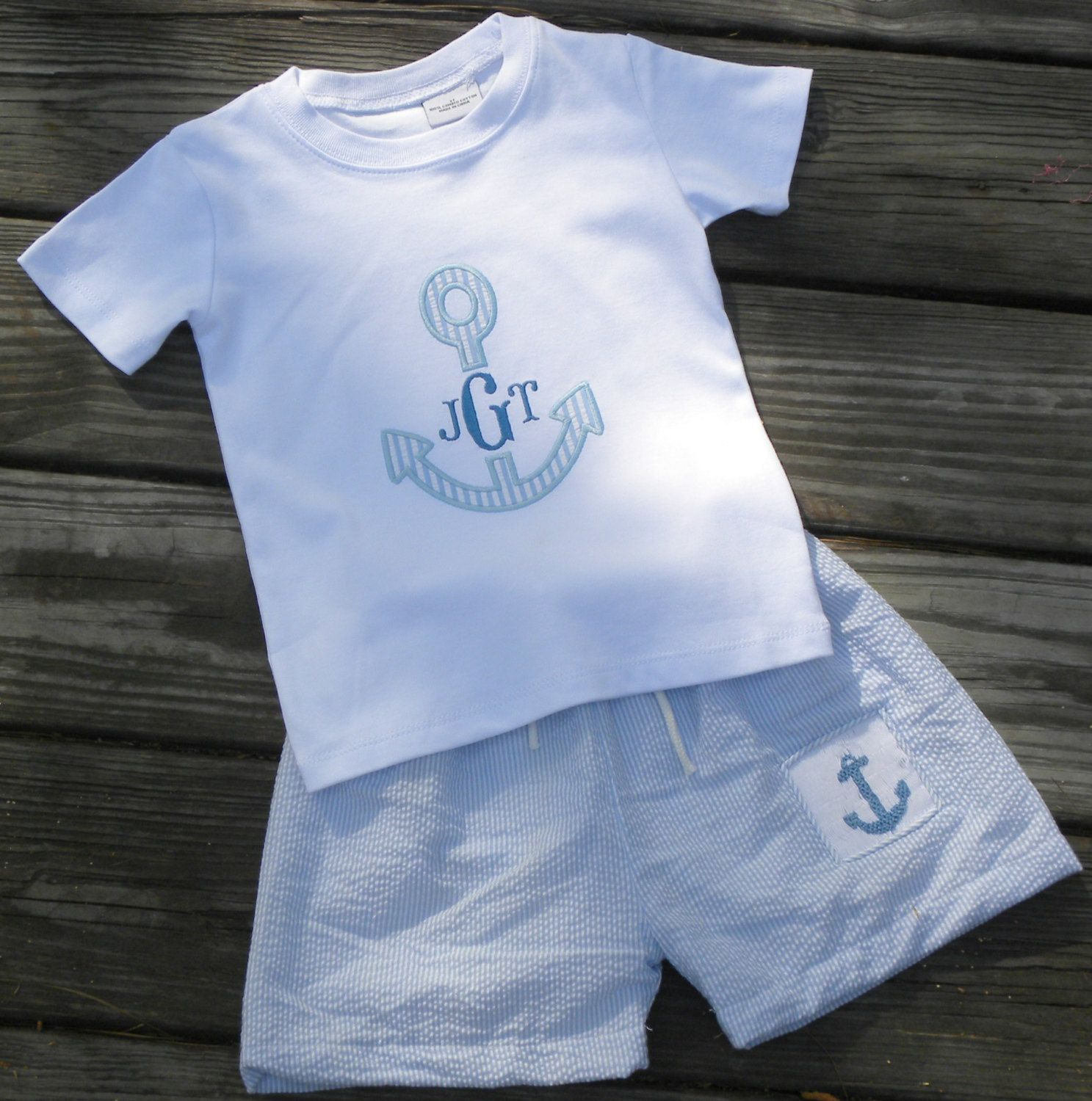 Smocked Anchor Swimsuit in Blue Seersucker AND by