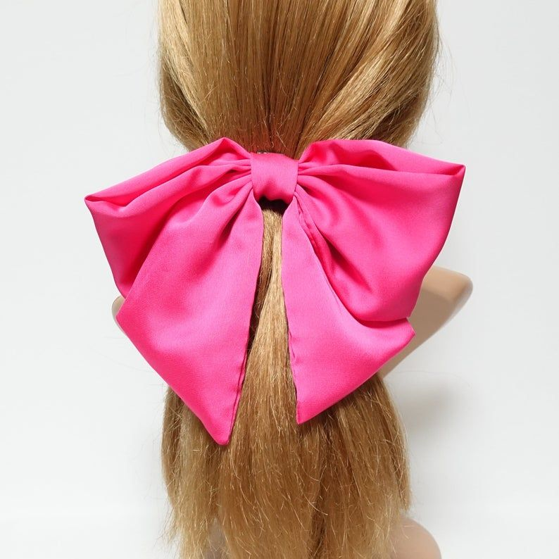 Large Long Tail French Barrette Bow Hair Clip Pins Clips Girls Ladies Ribbon New