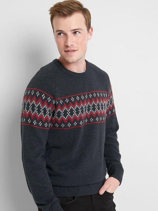Gap Mens Fair Isle Crewneck Sweater True Black   Crewneck sweaters ...