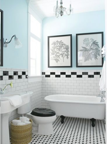 Black And White Tiled Bathroom Light Blue Walls But I D Probably Make Them Close White Bathroom Tiles White Bathroom Designs Bathroom Makeovers On A Budget
