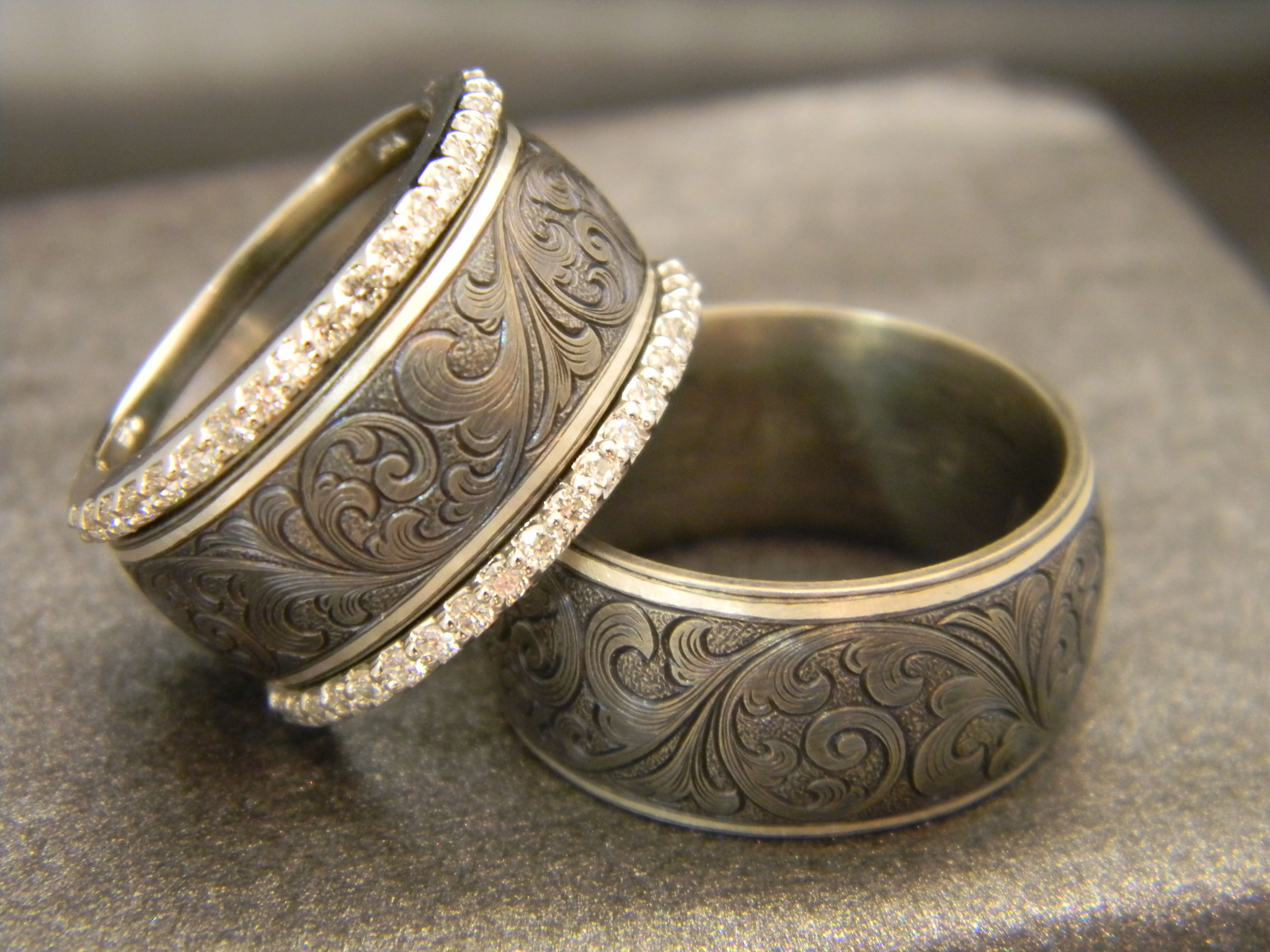 men s ring 10mm titanium ring with jhook custom hand engraving