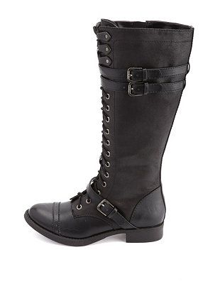 441d8f49f03634 Soda Belted Brogue Lace-Up Knee-High Combat Boots  Charlotte Russe ...