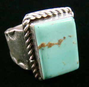 Item 806P Mens Navajo Turquoise Rectangle Sunrise Stamped Ring