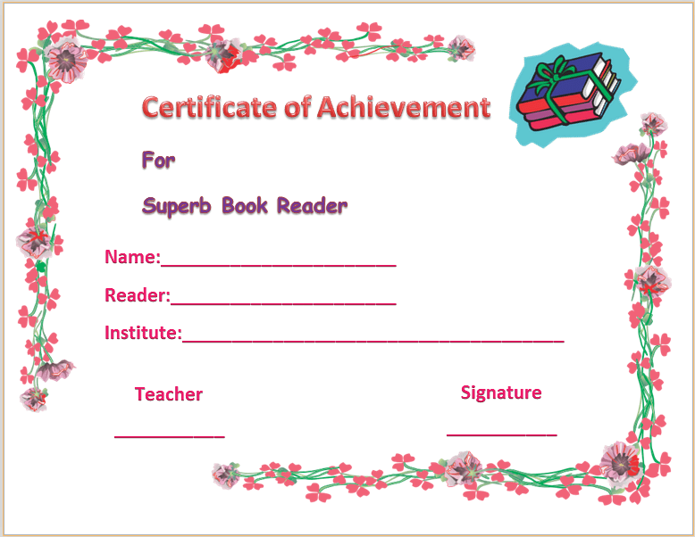 Colorful best reader certificate of appreciation template colorful best reader certificate of appreciation template yelopaper Image collections