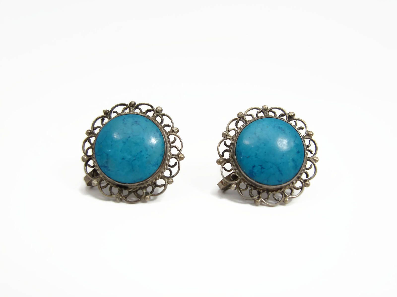 Vintage Sterling Mexican Turquoise Earrings Https Vintagegemz Listing
