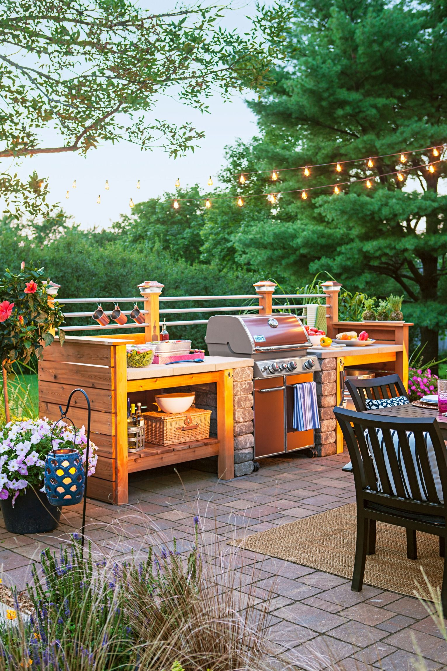 Get The Look Of An Expensive Outdoor Kitchen For Less Surround A Gas Grill With Modular Diy Cedar Structure That You Can Customize To Fit Your Backyard