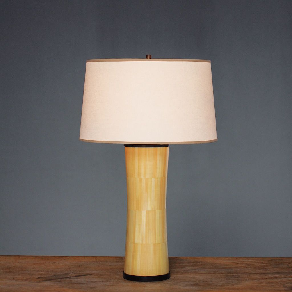 Alexander Lamont Inhale Table Lamp In Straw Marquetry