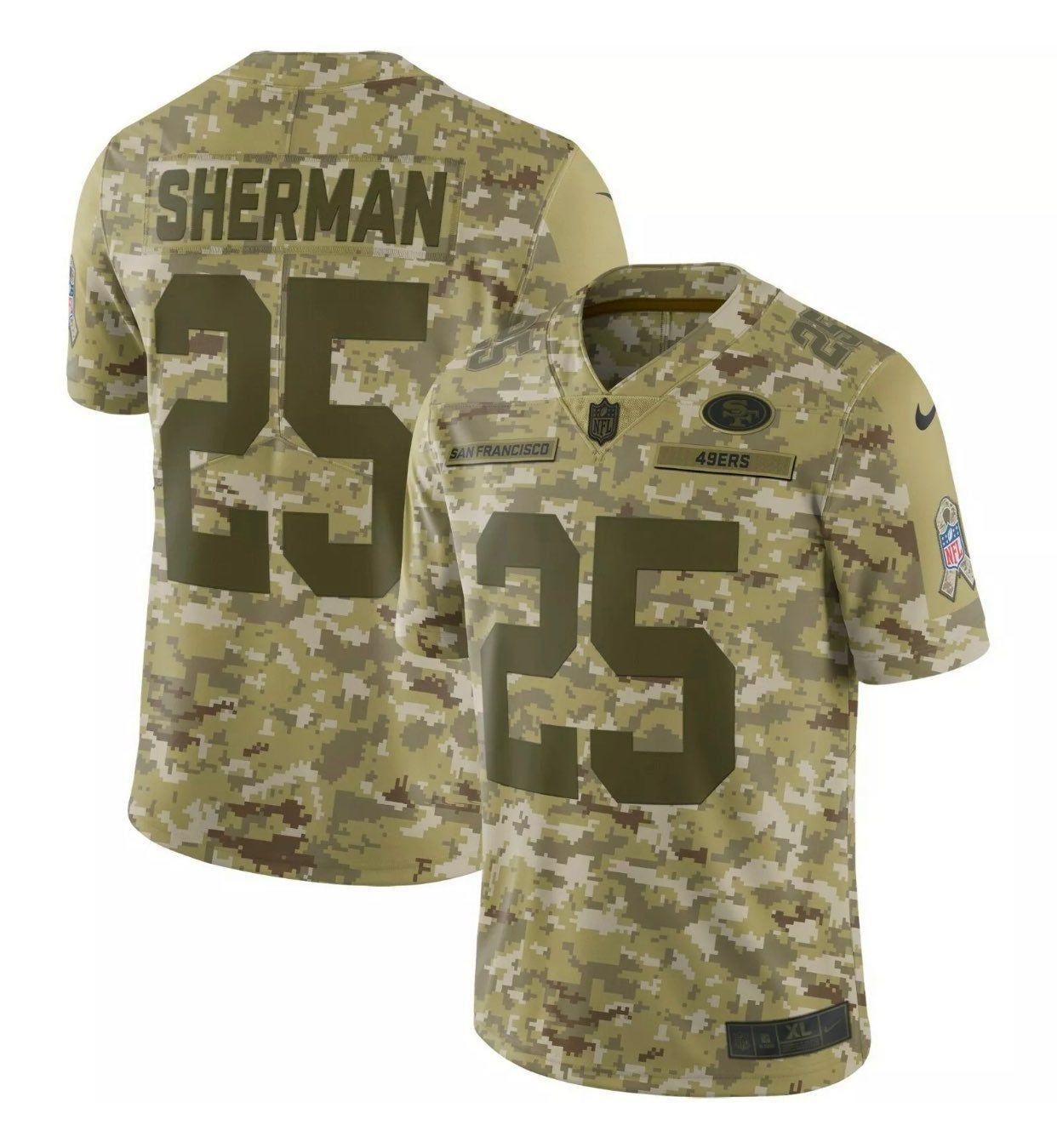 Nike Men S Jersey 49ers Salute To Service Size Large Jersey Richard Sherman 25 Camo Jersey Nfl Jerseys Nfl