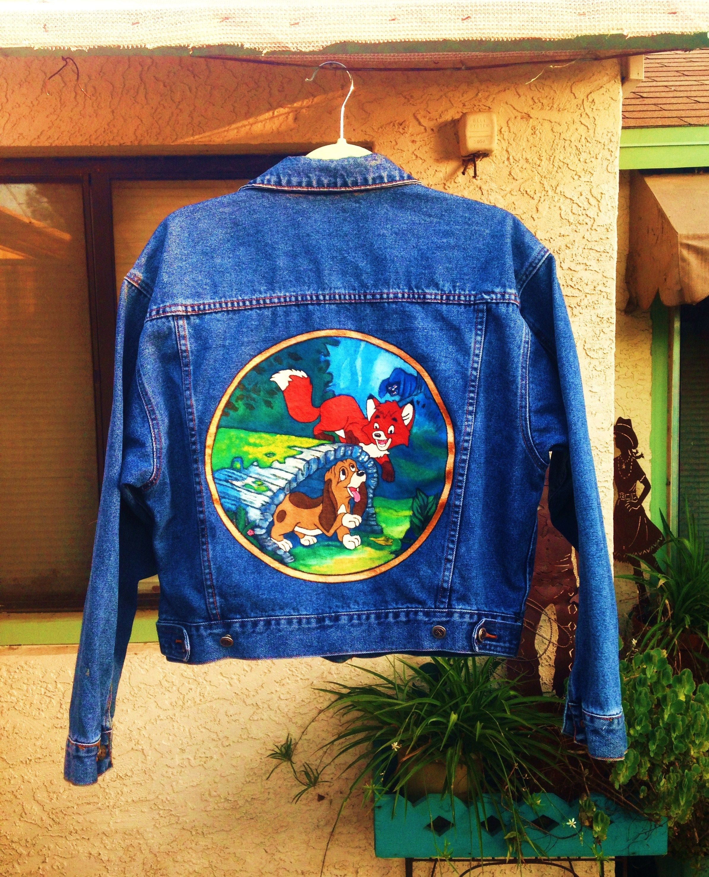 The Fox And The Hound Custom Painted Denim Jacket By